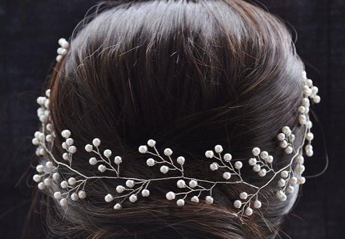 handmadejewelrylady tocado novia boda brillantes diadema pelo Vine Partido  Noche Mujeres Accesorios Para El Pelo  Amazon.es  Belleza 3a284f25e581