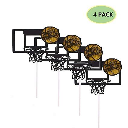 Juego de 4 adornos para tartas de baloncesto, decoración ...