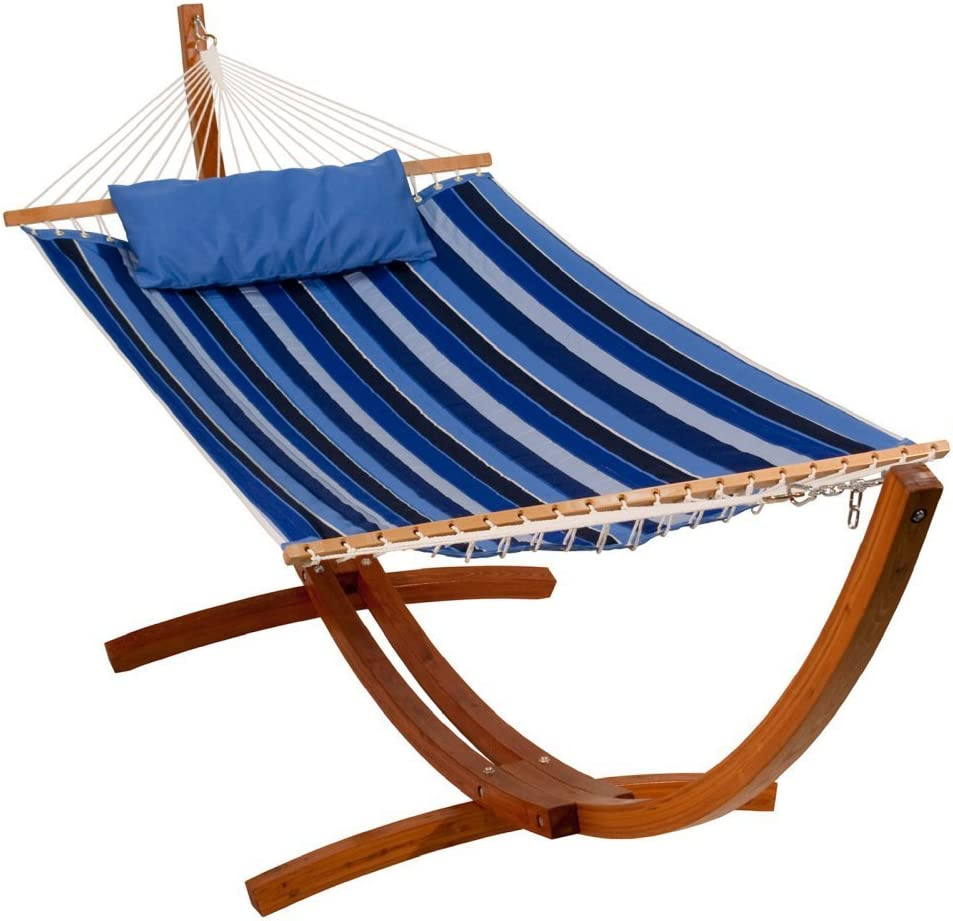 Algoma Net Company 2799W192181SP Reversible Sunbrella Quilted Hammock, 300 lbs. Cap 13 L, Blue