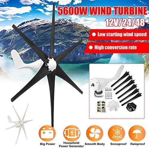 5600W Windturbine, 12V / 24V / 48V 6 Nylon-Faser-Blatt-Wind-Turbinen-Generator Horizontal Energie Windrad Energie Turbines Lade Fit für Heim
