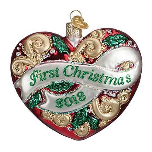 First Christmas Heart Ornament - Old World Christmas Glass Blown Ornament with S-Hook and Gift Box, Baby Collection (2018 First Christmas Heart)
