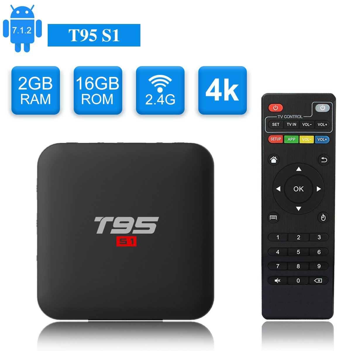 T95 S1 Android TV Box, Android 7.1 Amlogic S905W Quad Core 2GB/16GB with Digital Display HDMI HD 4K Ethernet WiFi 2.4GHz by Turewell (Image #1)