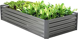 BLUEBERRY HILL Galvanized Raised Garden Bed 80Lx40Wx16H Inch Steel Outdoor Planters for Flower Herb Garden- 16 Inch Extra Tall Great to Grow Fruit and Root Vegetables.