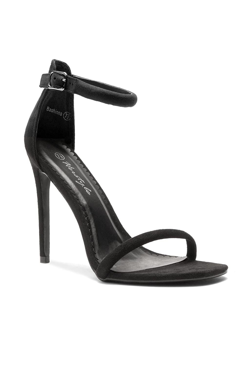 HerStyle Bashinna Ankle Rounded Strap, Open Toe, Stiletto Heel Black