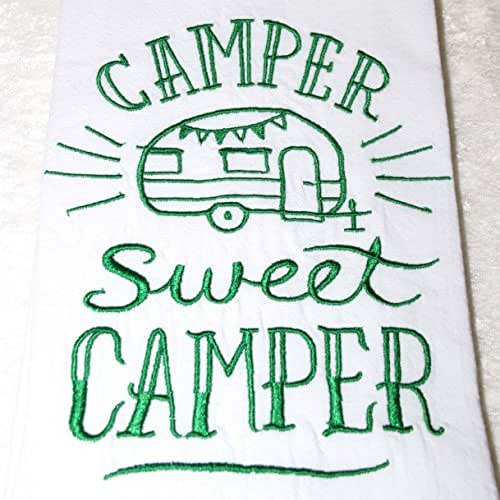 Amazon.com: Green Embroidered Camper Towel - Flour Sack
