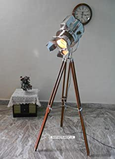 designer nautical spot light tripod floor lamp searchlight home - Spotlight Floor Lamp