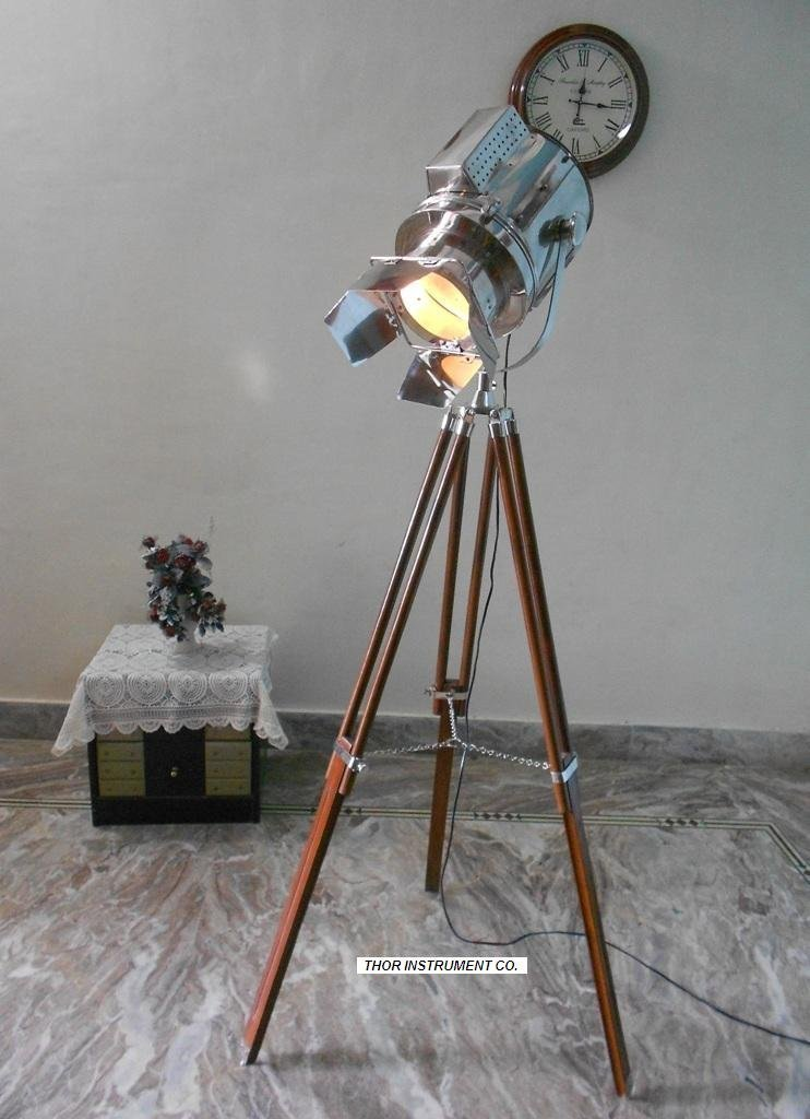 Designer Nautical Spot Light Tripod Floor Lamp Searchlight Home Decor-Nauticalmart by NAUTICALMART
