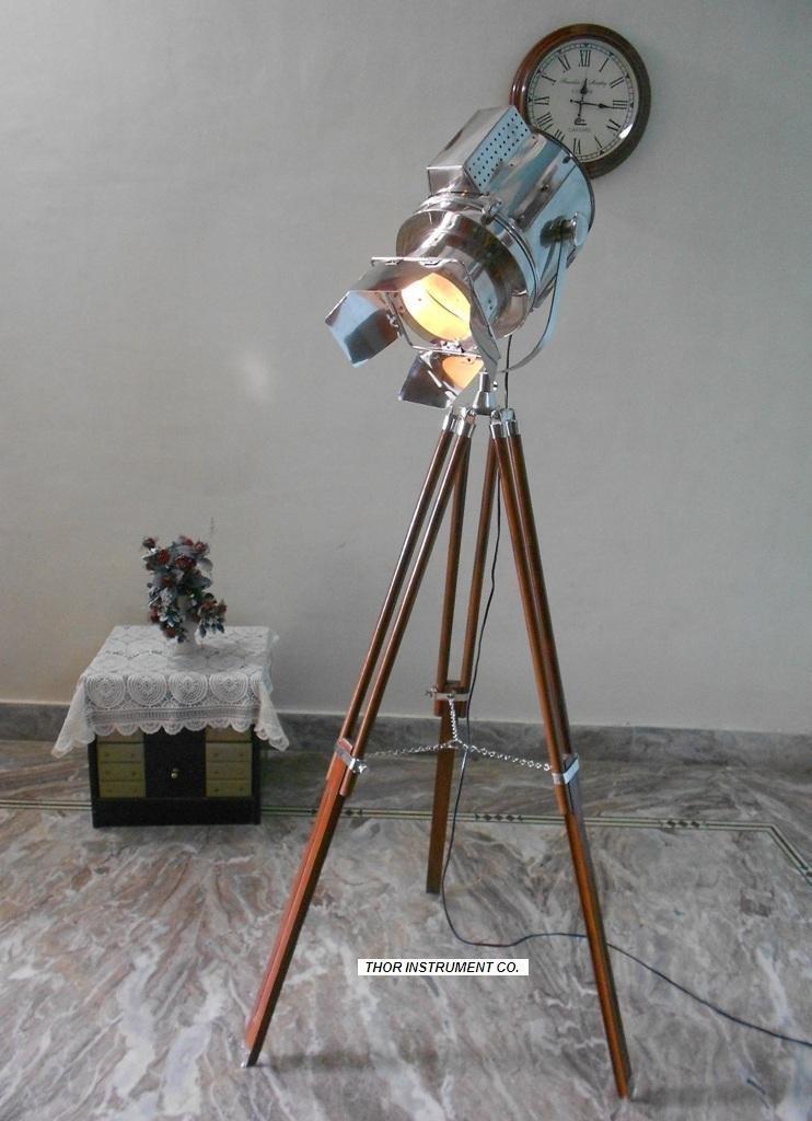 Designer Nautical Spot Light Tripod Floor Lamp Searchlight Home Decor-Nauticalmart