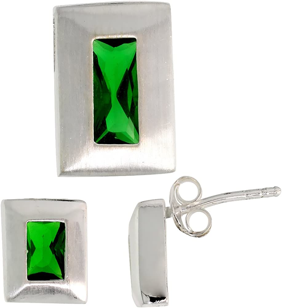 Sterling Silver Radiant Cut CZ Rectangle Stud Earrings /& Pendant Set Assorted colors for women Brushed finish