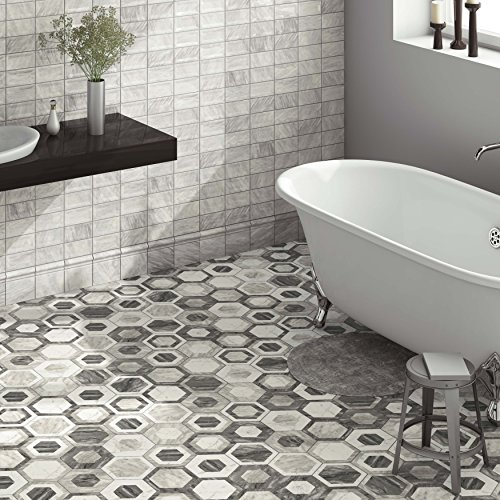 SomerTile FEQ8BXG Murmur Bardiglio Hexagon Porcelain Floor and Wall Tile, 7'' x 8'', Geo by SOMERTILE (Image #9)