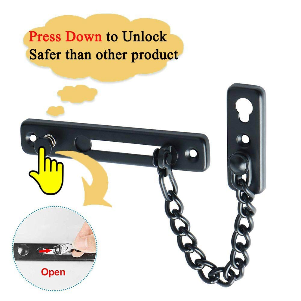Matte Black HLOMVE Sliding Chain Door Guard Lock with Safety Spring Anti-Theft Press Button Stainless Steel Childproof Front Door Chain Latch Lock