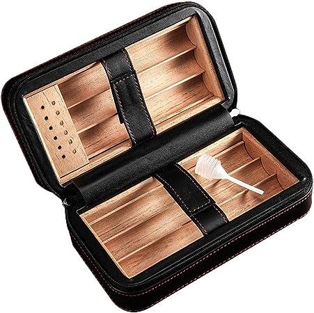 Cajas y dispensadores Accesorios de Cigarrillos Caja de Puros Mini Caja de Cuero for cigarros humidor Conveniente Forrado con Madera de Cedro de 6 Piezas Caja de Puros, Cortado a Mano: Amazon.es: