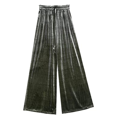 7d47d195d63a Pantalon Large Femme Long Élégant Automne Velours Ceinture Élastique Cordon  De Serrage Pantalons Roche Jupe Pantalon