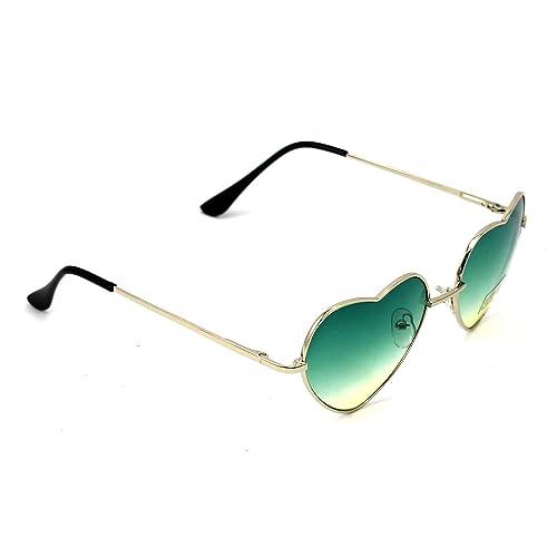 MMRM 1X mujeres Grandes Oversized Gafas de Sol En Forma De Corazón Gafas de Moda Cute (Verde)