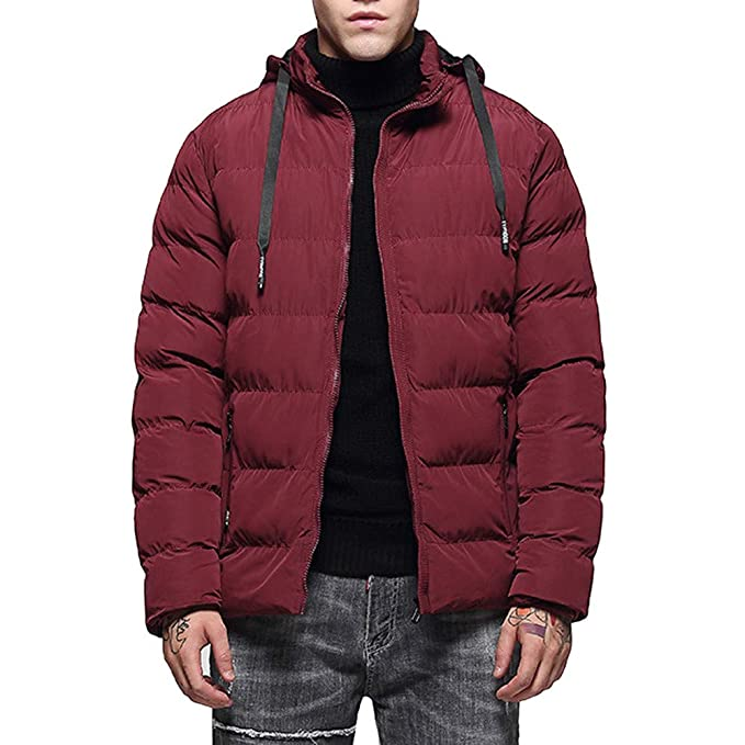 YanHoo Abajo Chaqueta de Hombre Abrigo con Capucha de Manga Larga y Terciopelo cálido de Moda
