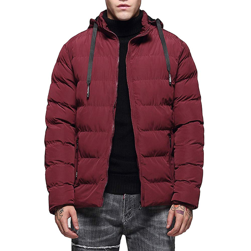 Mens Windbreaker,Men's Hoodie Thermal Windbreaker Coat,Winter Coats for Men(XXL,Red)