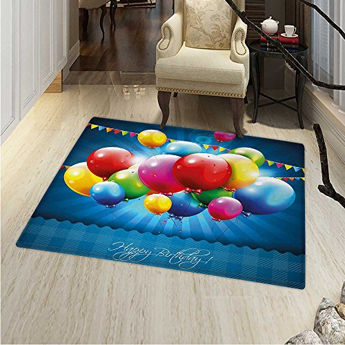 Birthday Area Rug Vibrant Colored Realistic Balloons Party Flags on Blue Backdrop Happiness Indoor/Outdoor Area Rug 2'x3' Multicolor