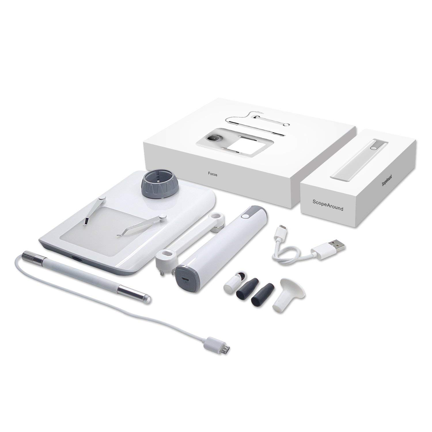 Wireless Microscope, ScopeAround WiFi Microscope Multi-Function Magnifier Digital Otoscope with CMOS Sensor 150x Magnification for iPhone iPad Samsung LG Sony Mac and PC by ScopeAround