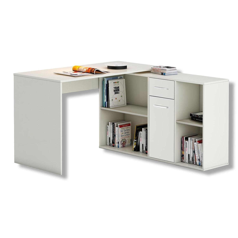 Eckschreibtisch holz weiß  Schreibtisch Eckschreibtisch Computertisch DIEGO, in weiß, mit ...