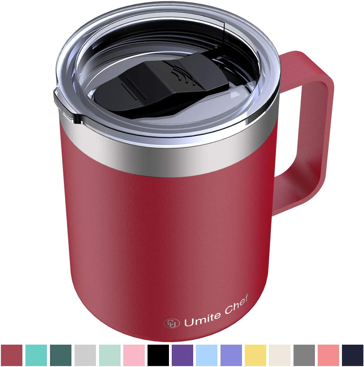 Umite Chef Stainless Steel Insulated Coffee Mug Tumbler with Handle, 12 oz Double Wall Vacuum Tumbler Cup with Lid Insulated Camping Tea Flask for Hot & Cold Drinks(Wine Red)