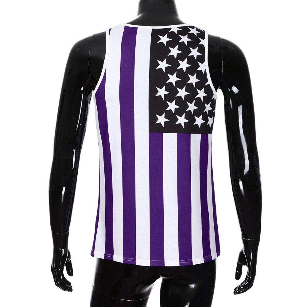 Tanhangguan Mens Casual American Flag Star Striped Print Slim Fit Tank Top Sleeveless Workout Tank Tops Funny T-Shirt