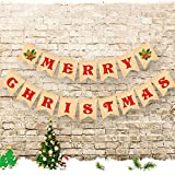 Merry Christmas Banner Jute Burlap Merry Christmas Garland Bunting Sign - Christmas Party Favors Decoration
