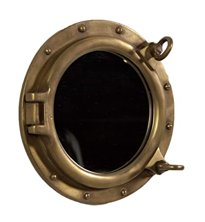 Nautical Tropical Imports Porthole Mirror Wall Mount Antique Brass Finish 12 Inch Diameter