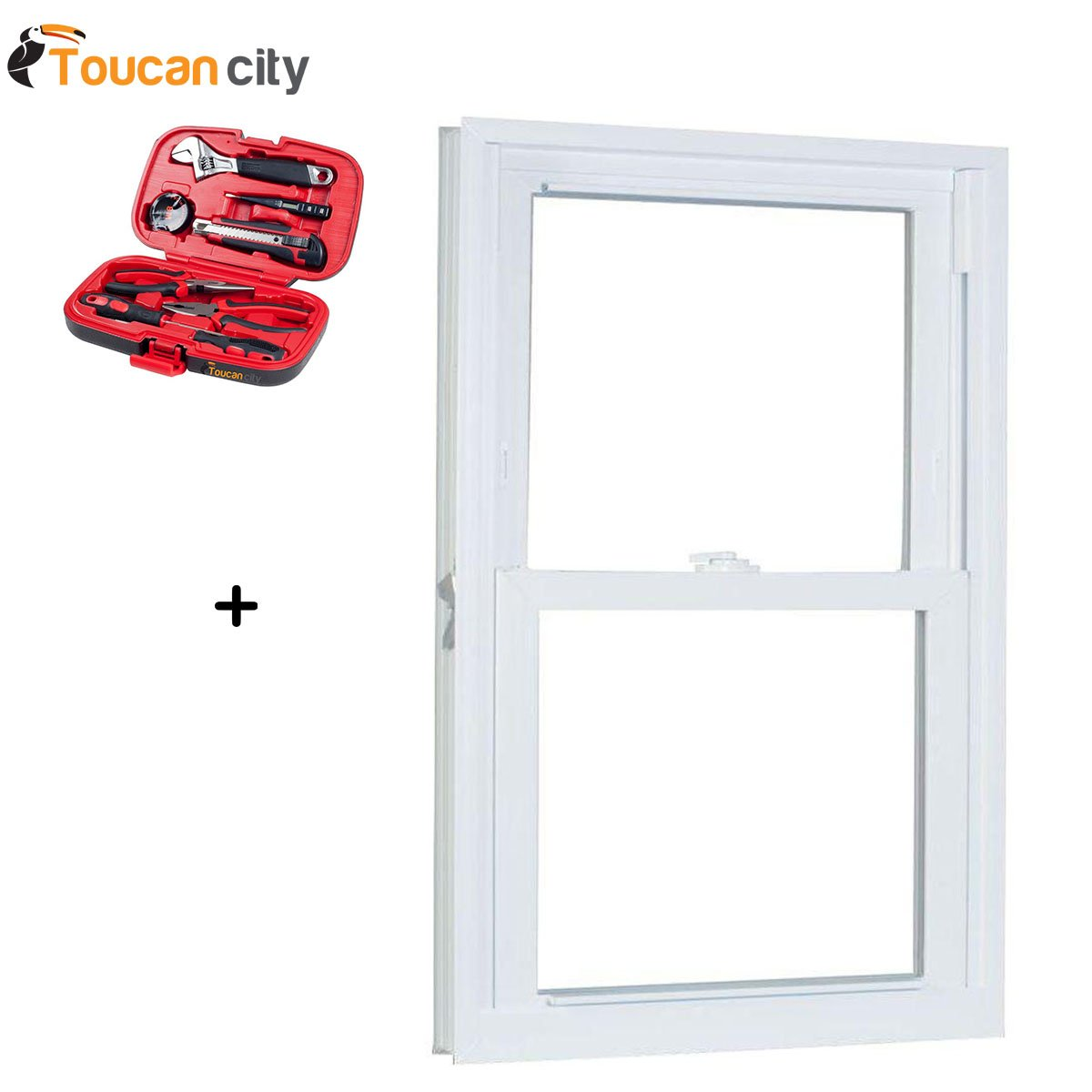 Toucan City Tool Kit (9-Piece) and American Craftsman 29.75 in. x 53.25 in. 70 Series Pro Double Hung White Vinyl Window with Buck Frame 3054786