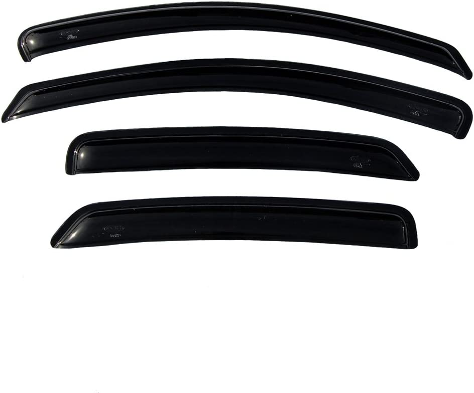 OEMM Set Of 4 Wind Deflectors IN-CHANNEL Type Compatible with FORD FOCUS 5 door HATCHBACK MK2 2004 2005 2006 2007 2008 2009 2010 2011 Acrylic Glass Side Visors Window Deflectors