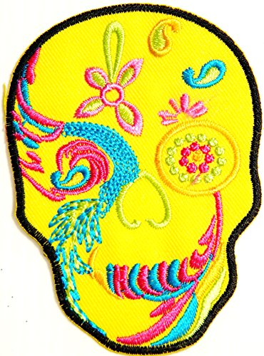 Yellow Flower Sugar Skull Day of the Dead Punk Rock Hippie Lady Rider Logo Biker Jacket T shirt Patch Sew Iron on Embroidered Badge Custom