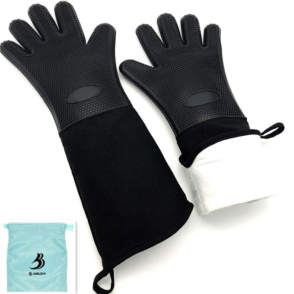 "DAMUZHI Extra Long Silicone 1 Pair,Kitchen Gloves Heat Resistant,Cooking,Baking,Grilling,Oven Mitts Heavy Duty,Black (19.7"")"