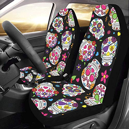 Car Seat Covers(Set of 2) Sugar Skull Polyester Fabric One Side Printing Protector Dust Proof