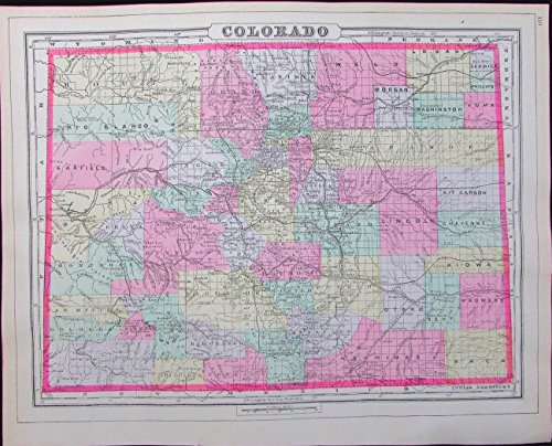 Old Detailed Colored Antique Map - Colorado early statehood map 1894 scarce detailed hand colored antique map