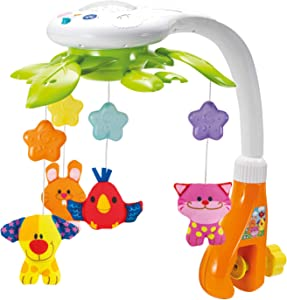 KiddoLab Baby Crib Mobile with Lights and Relaxing Music. Includes Ceiling Light Projector with Stars, Animals. Musical Crib Mobile with Timer. Nursery Toys for Babies Ages 0 to 24 Months