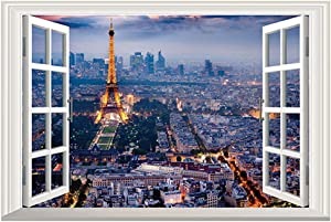 BooDecal Eiffel Tower in Paris Romantic Scenery 3D Fake Window Decorative Decals Interior Room Wall Stickers for Bedroom Living Room Playroom Decals 24 inches x 16 inches