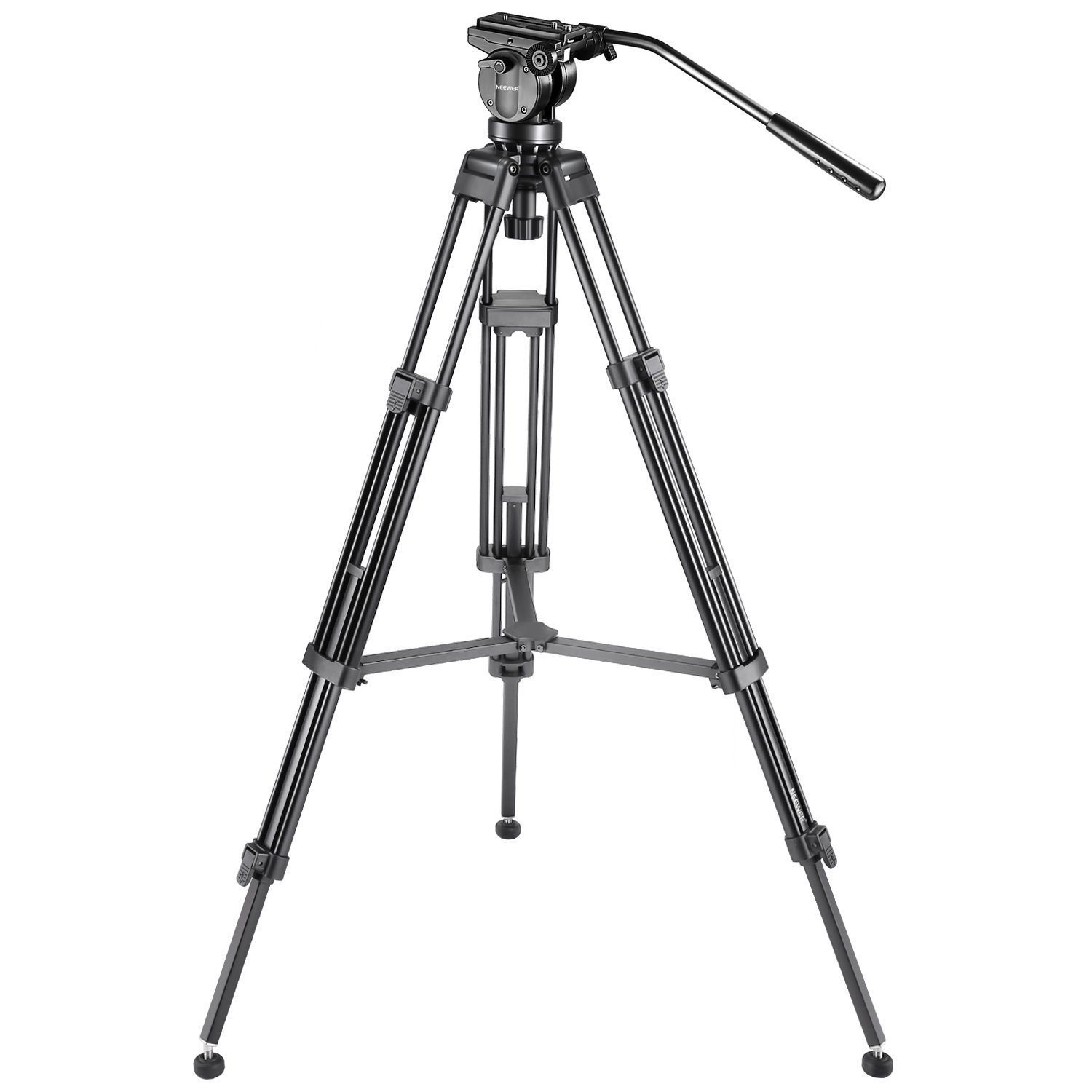 Neewer Professional 61 inches/155 Centimeters Aluminum Alloy Video Camera Tripod with 360 Degree Fluid Drag Head,1/4 and 3/8-inch Quick Release Plate and Bag,Load up to 13.2 pounds/6 kilograms by Neewer