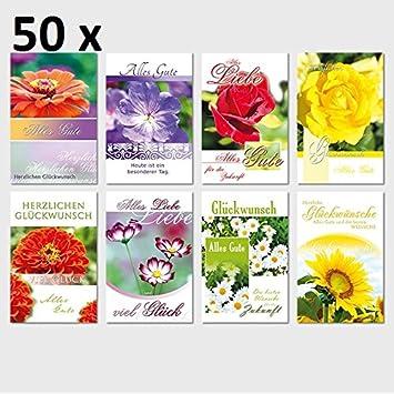 50 Gluckwunschkarten Geburtstag Blumen 11 5 X 17 5 Amazon De