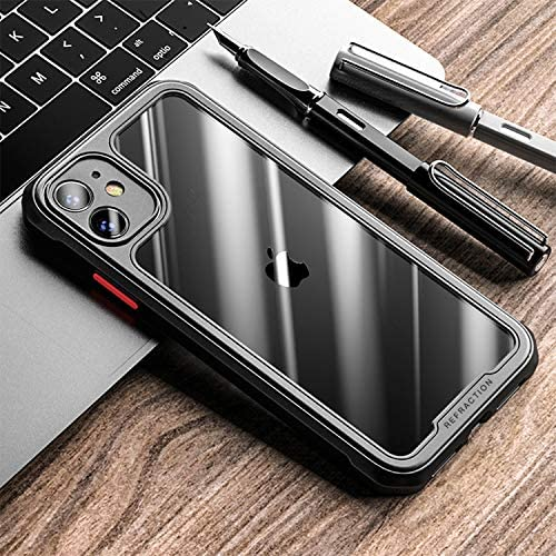 TENOC Phone Case for Apple iPhone 11 Case, Clear Back Cover Bumper Case Compatible for iPhone 11 6.1-Inch, Black