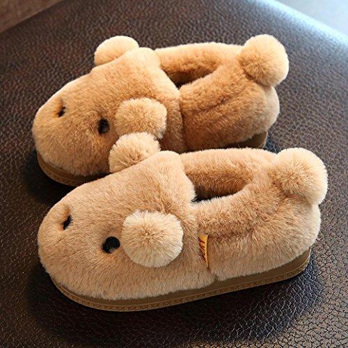 Transer® Babyschuh Mädchen Jungen Plüsch -Schnee-Schuhe Nette Kleinkind Kinder Casual Warm Weiches Herbst Winter Karikatur Schuhe mit Ohren Kaffee