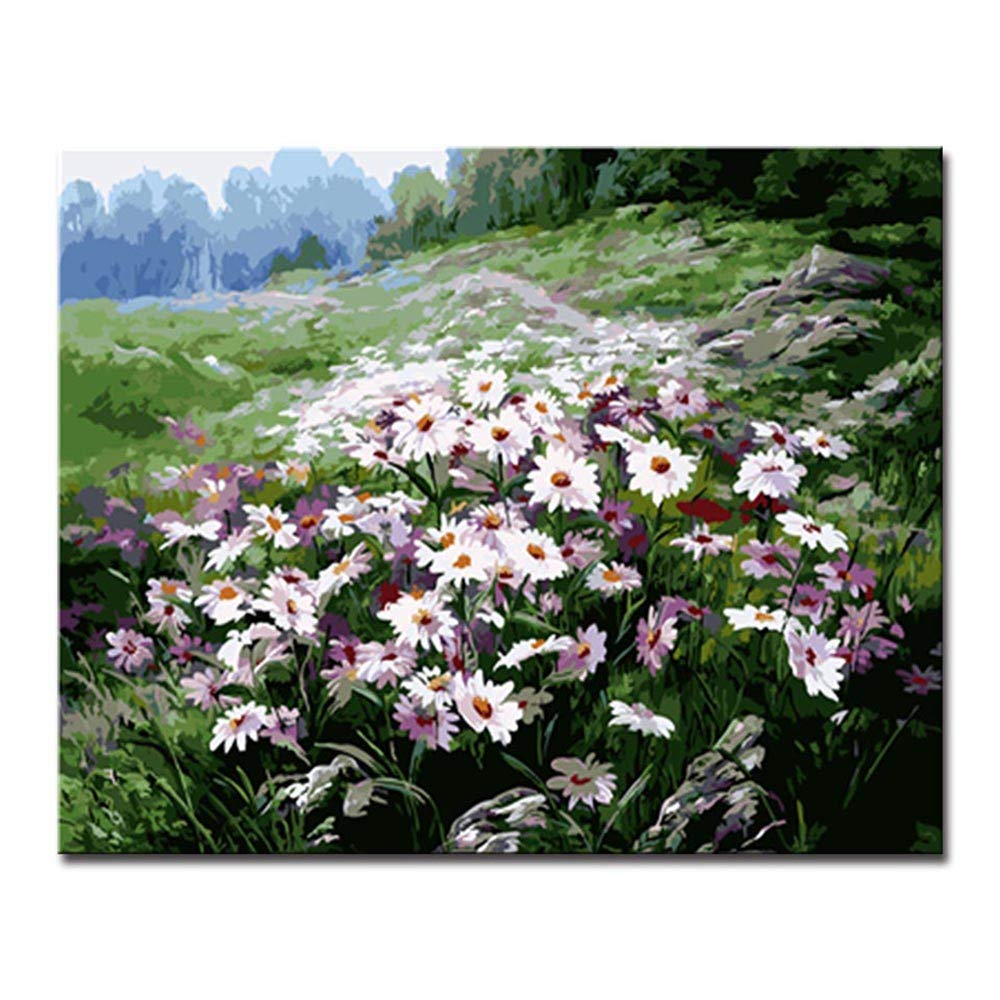 ordenar ahora 40x50cm Diy Frame Frame Frame NGDDXTG Arte de la Parojo Pintura al óleo Digital de DIY por el Kit del número Que dibuja la Imagen púrpura del Paisaje de la Flor para el hogar  tienda de bajo costo
