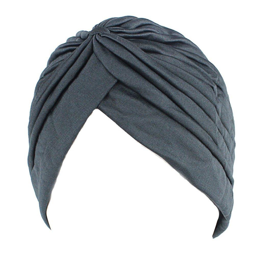 Lergo Women Men Turban Head Wrap Band Chemo Bandana Hijab Pleated Indian Cap