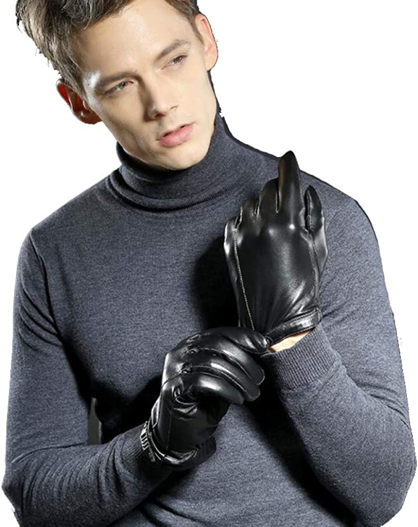 Color : Man-Thin, Size : XL Leather Gloves Unisex Leather Gloves Plus Velvet Warm Mountain Touch Screen Winter Riding Driving Gloves