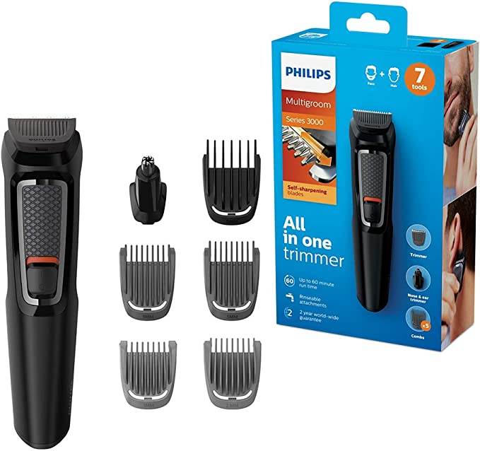 Philips MULTIGROOM Series 3000 MG3720/33 cortadora de pelo y maquinilla Negro Recargable - Afeitadora (Negro, Rectángulo, 9 mm, Nariz, Acero inoxidable, 60 min ...