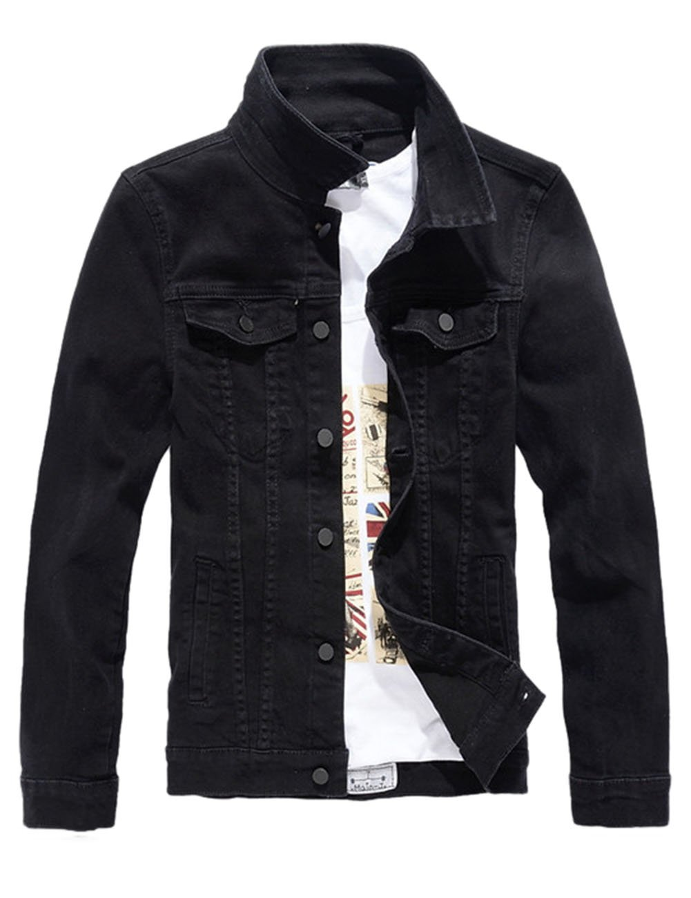 DSDZ Men`s Classic Slim Fit Motorcycle Denim Jacket Coat Black S(Asian L) by DSDZ