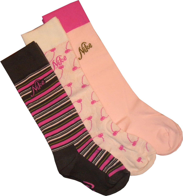 Nike Girls 'knee High Calcetines 3pares de calcetines sx2781–955Negro de color rosa de color blanco tamaño 34–38/UK 2–5