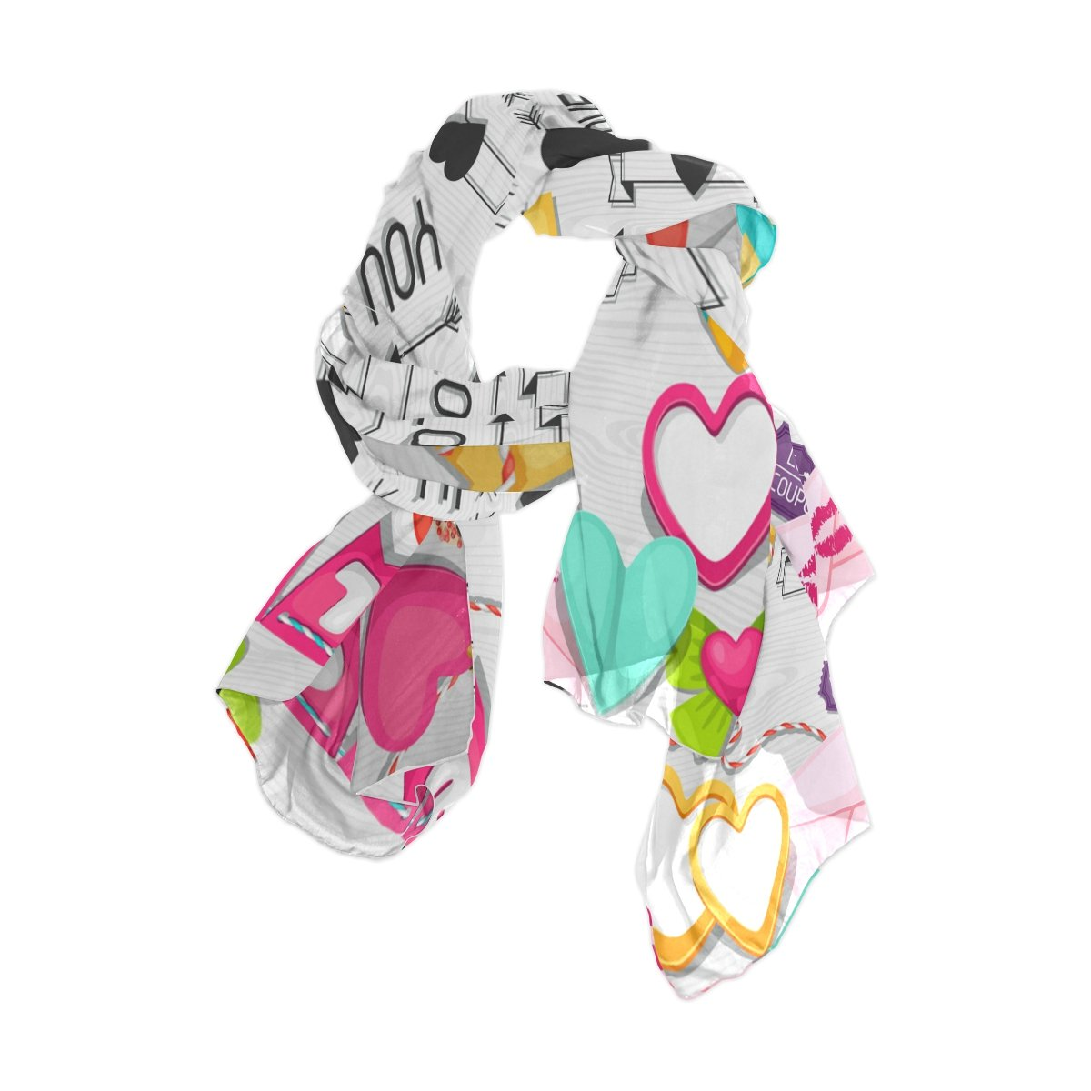 Love Hearts Print Scarf Wrap Shawl Gift UK Free Delivery Valentine/'s Day Gift