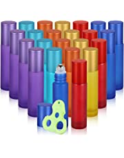 Olilia 10 ml Frosted Glass Roll on Bottles with Metal Roller Balls, 24 Pack (Mixed Color)