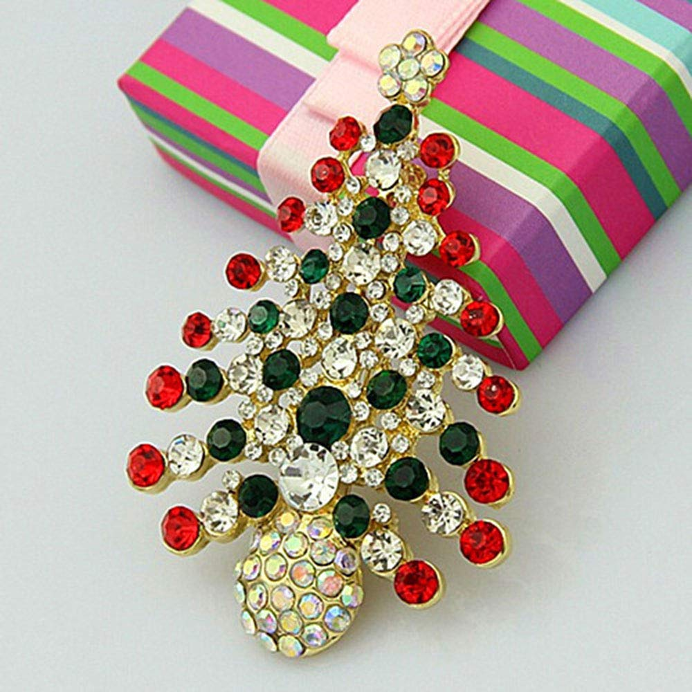 Christmas Tree Design Costume Jewellery Sparkly Crystal Artificial Diamond Brooch Pin 2pcs ZGY Christmas Brooch