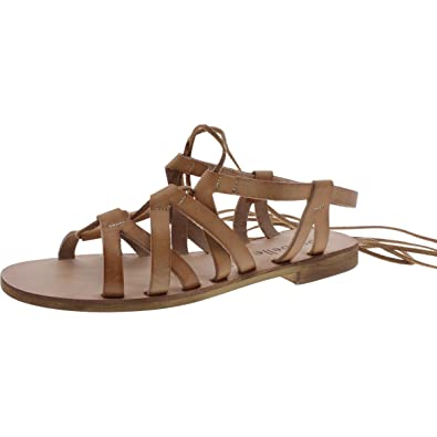 3b2e03b1e Cocobelle Womens Wrap-Up Open Toe Flat Sandals Tan 6.5 Medium (B