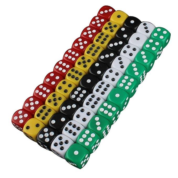 Vikenner 50 piezas Juego de dados de 6 lados, 5 x 10 colores ...